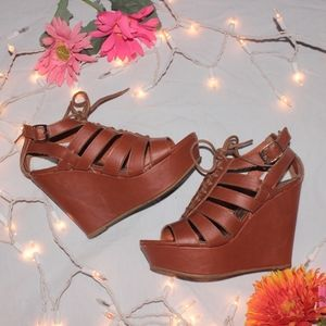 BAMBOO Strappy Lace Up Wedges